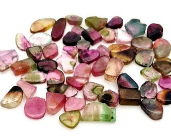 Natural WATERMELON TOURMALINE Slices, smooth slices ,4x7 mm -- 10x11 mm, 54 pieces, 70 ct.[E0326]