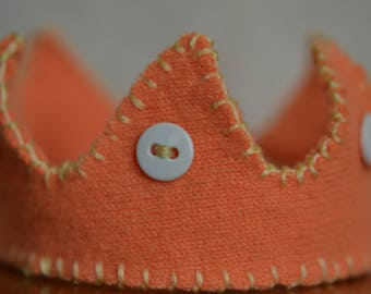 Small Wool Crown for a Doll, Stuffed Animal, or Young Child (Orange, White, and Yellow)