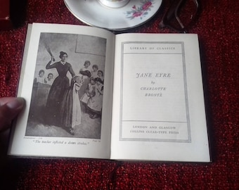 Jane Eyre by Charlotte Bronte Burgundy Handbag Sized Illustrated Vintage Book from 1938