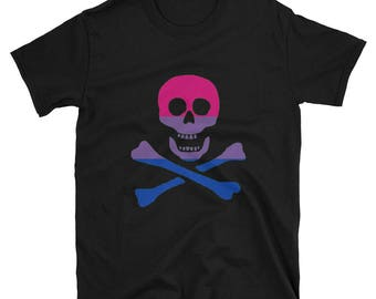 """Bi Pride Pirate """"Birate"""" Jolly Roger Unisex T-Shirt  lgbt lgbtqipa lgbtq mogai pride flag bisexual"""