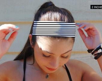 Black and White headband, Non Slip Headband, Extra Wide Band, Wide Headband, Thin Headband, Yoga Headband, Fitness Headband,