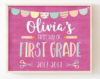 First Day of School Sign-Chalkboard School Sign-First Day of School Printable Sign-First Grade Sign-Girl School Sign Print-Instant Download