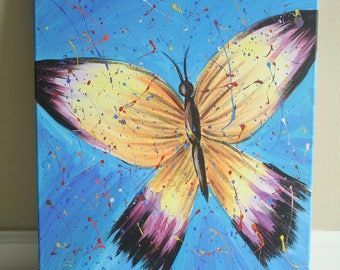 Purple and Yellow Butterfly Acrylic Painting
