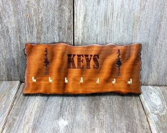 Redwood Key Rack Plaque 7 Hooks Handmade California Redwood Engraved Rustic  Edge Slab #6