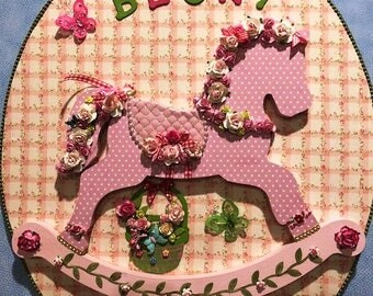 Floral Rocking Horse - Free Customized Name Offered