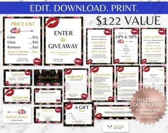 Floral|Boho|Black|Gold|Red Lips|LipSense Business Cards|LipSense Business Cards Bundle|LipSense Business Bundle|Ultimate|SeneGence| Kit