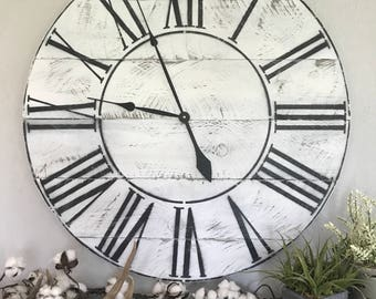 Roman Numeral Clock Roman Numeral Big Wall Clock Farmhouse