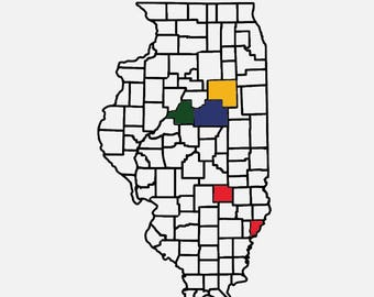 "Illinois County Map Adventure Tracker 20"" x 11.3"""
