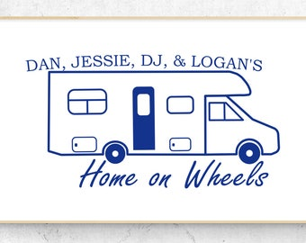 """Class C Motor Home Personalized Home on Wheels Vinyl Decal (6"""" x 3.7"""")"""