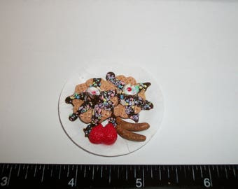 Dollhouse Miniature Handcrafted Breakfast 2 Ice Cream Waffles, Chocolate & Sausage on a Paper Plate ~ Barbie Food for the Doll House 1027