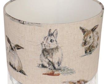Clarke and Clarke Linen Hare and Rabbit, Lampshade, Ceiling Light / Table Lamp
