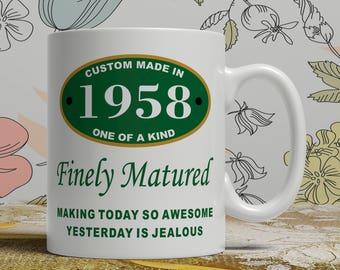 Gift Birthday dad born 1958 mug 60th Birthday mug 60th birthday idea 60th birthday gift 60 years old, Happy Birthday, EB 1958 Matured