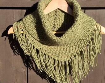 Fringed cowl neck scarf