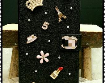 iPhone 6 plus/6S plus, 7 plus wallet case with copy Chanel charms