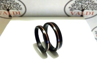Wooden Wedding  Rings. Grenada wood. With copper inlay
