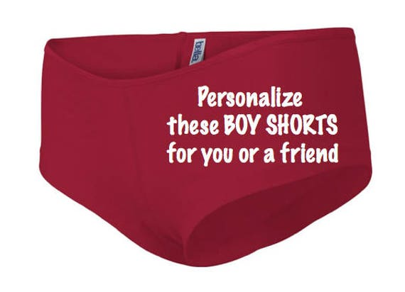Personalize these red Boy Shorts for you or a friend * FAST SHIPPING * Custom birthday gift for her