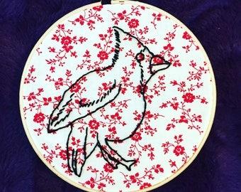 Cardinal Bird Hand Embroidered Hoop Art