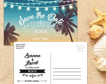 Save the Date Postcard template, Destination Wedding, Beach Wedding, Save the Date Template, Save the Date Card, Save-the-date