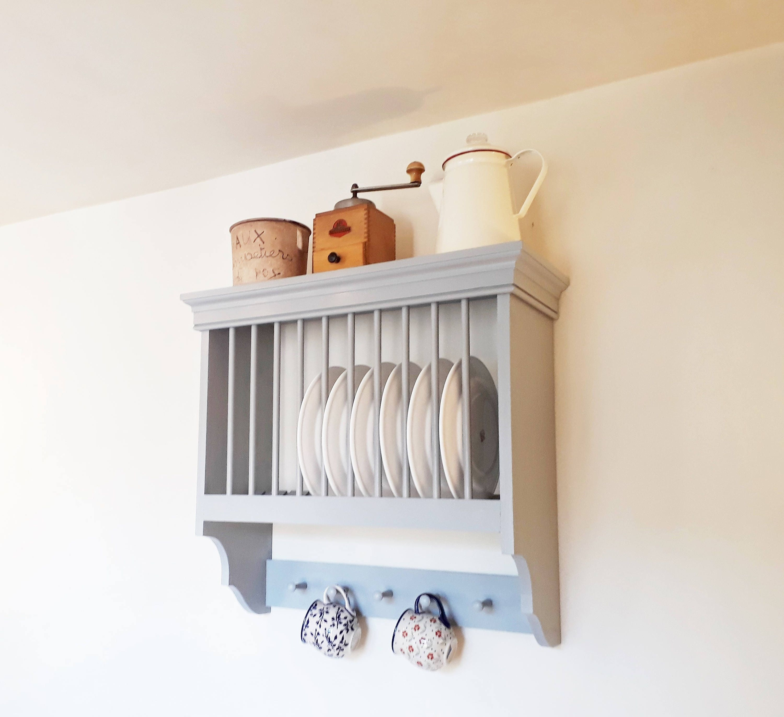 Modern Kitchen Plates: Kitchen Plate Rack Handmade Modern Rustic Kitchen Shelving