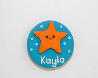Personalised Starfish Name Badge - Handmade Polymer Clay