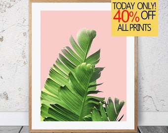 Pink Banana Leaf, Plant Print Art, Banana Leaf Art, Printable Wall Decor, Printable Poster, Plant Poster Pink, Botanical Leaf Print