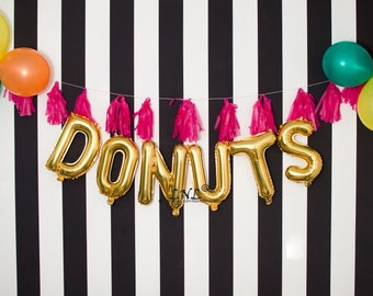 Donuts Rose Gold balloons | gold | silver mylar foil letter balloon banner, gold balloons, baby shower, wedding, party balloons, birthday