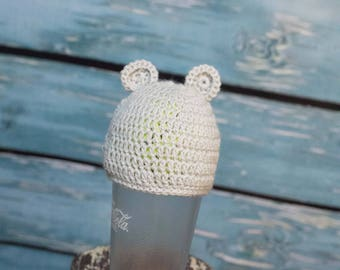 Light Gray Newborn Hat with Ears