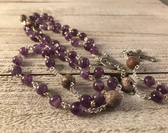Amethyst and Jasper Rosary