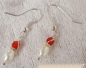 Pearl and Carnelian 'Dainty' earrings.