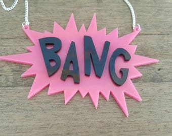 Bang! comic book necklace words perspex acrylic lasercut laser cut