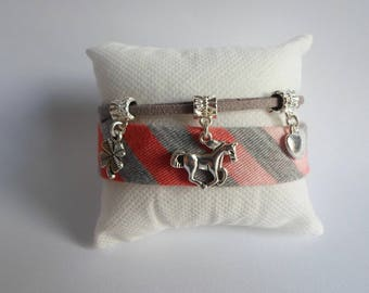 Fabric strap and suede tone gray and orange