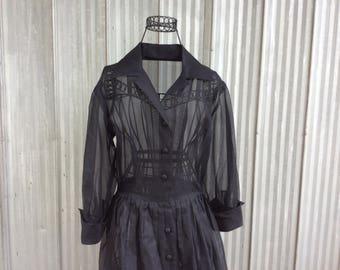 Vintage evening dress from the 50's - elegant black chiffon dress - Audrey Hepburn style
