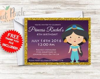 Princess Jasmine Birthday Invite 5x7 Digital Personalized Princess Invitation