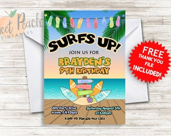 Surfs Up Birthday Invite 5x7 Personalized Digital Surf Party Invitation