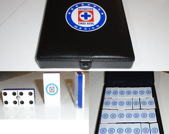 Cruz Azul Dominoes Game Set Double Six Domino Party Gift Man Cave Bar Home Restaurant Cantina Tavern Pub Family Game Futbol Game Board Game