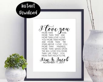 I Love You More,Then Ever Mean,That Much To Mean,Kim And Jacob November 11-2017 ,Surprise Gift For Bride Digital Download INSTANT DOWNLOAD