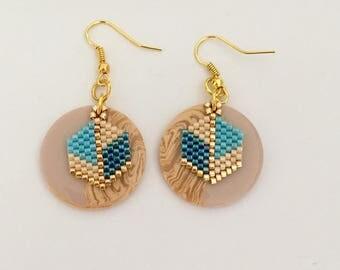 Pucks and weavings earrings