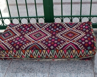 Multicolor Floor Poufs Moroccan Rectangular Wool Kilim Pouf, Handmade Wool
