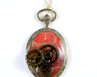 Steampunk Pocket Watch Pendant, steampunk necklace, pocket watch necklace, gears necklace