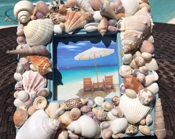Coastal decor 4x4 shell picture frame beach home