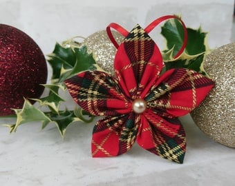 5 x Red and Gold Tartan Christmas Decorations, Star tree decoration, 8cm x 8cm, Christmas Bauble, Ornament, Stocking Filler