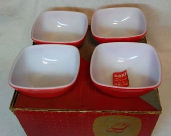 NOS Pyrex Red Hostess set