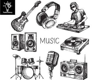 Music Temporary Tattoo Music Tattoo Music Fake Tattoo DJ Tattoo Speaker Tattoo Disc Jockey Tattoo Turntable Tattoo Music Themed Tattoo