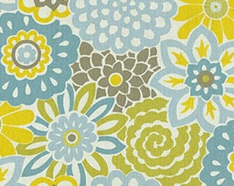 Button Blooms- blue and yellow floral Curtains, Accent Pillows, Valance