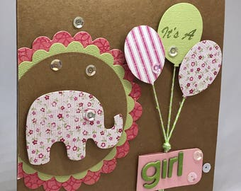 Baby girl card, new baby card, baby congratulations, baby shower card, card for baby, baby girl, its a girl, new parent card