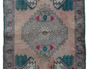 Small Turkish Runner Rug Oushak Decorative Handwoven Rug Turkish Antique Rug 1.8 x 3.4 ft  F-
