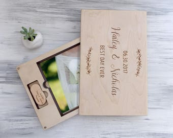 Wedding Gift Ideas for Couple Wedding Photo Box Anniversary Gift Wood Keepsake Box Wedding Memory Gift for Wife Custom Gift Box Gift for Her