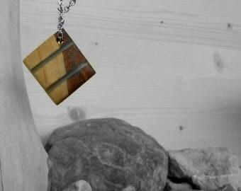 Rhomboid necklace/pendant/pendant wood resin azzurra