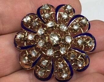 Estate Antique 14K Yellow Gold 3 CTW Rose Cut Diamond Pin Brooch 18.5 Grams