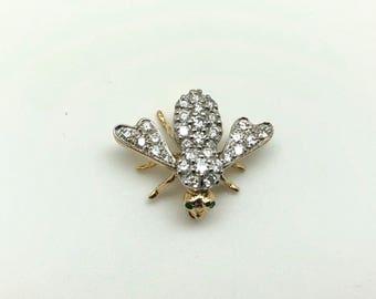 Estate Antique 18K Yellow Gold 1.00 CTW Diamond & Emerald Fly Bee Pin Brooch